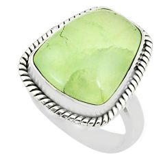 11.95cts natural green prehnite 925 silver solitaire ring jewelry size 7 r72785