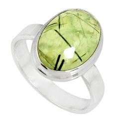 6.31cts natural green prehnite 925 silver solitaire ring jewelry size 8 r19403