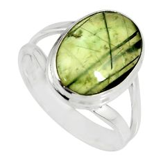6.04cts natural green prehnite 925 silver solitaire ring jewelry size 8 r19412
