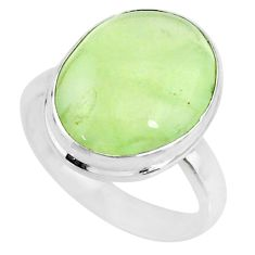 12.96cts natural green prehnite 925 silver solitaire ring jewelry size 8 r72762