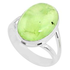 10.13cts natural green prehnite 925 silver solitaire ring jewelry size 8 r72765