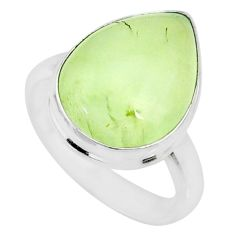 11.54cts natural green prehnite 925 silver solitaire ring jewelry size 8 r72770