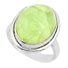 13.09cts natural green prehnite 925 silver solitaire ring jewelry size 8 r72787