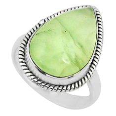 14.26cts natural green prehnite 925 silver solitaire ring jewelry size 8 r72796