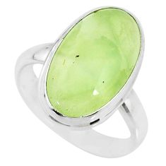 10.39cts natural green prehnite 925 silver solitaire ring jewelry size 8 r72808