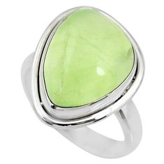 13.26cts natural green prehnite 925 silver solitaire ring jewelry size 8 r72815