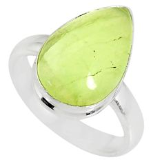 8.03cts natural green prehnite 925 silver solitaire ring jewelry size 8 r76784