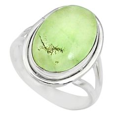 11.13cts natural green prehnite 925 silver solitaire ring jewelry size 9 r72782