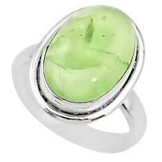 10.12cts natural green prehnite 925 silver solitaire ring size 7.5 r72774