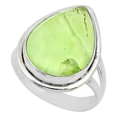 13.27cts natural green prehnite 925 silver solitaire ring size 7.5 r72792