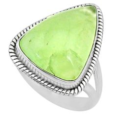 14.63cts natural green prehnite 925 silver solitaire ring size 8.5 r72793