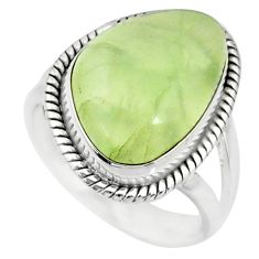 11.46cts natural green prehnite 925 silver solitaire ring size 7.5 r72819