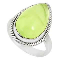 10.37cts natural green prehnite 925 silver solitaire ring size 7.5 r76781