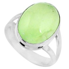 9.96cts natural green prehnite 925 sterling silver solitaire ring size 7 r72810