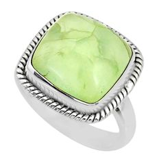 13.75cts natural green prehnite cushion silver solitaire ring size 8.5 r72800