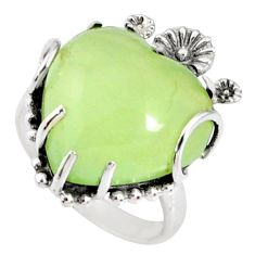 13.13cts natural green prehnite heart 925 silver heart ring size 7 r67502