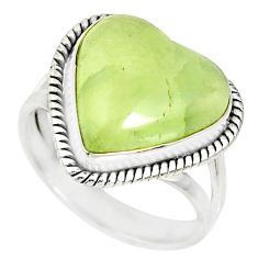 11.27cts natural green prehnite heart 925 silver solitaire ring size 8 r76782