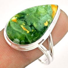 16.17cts natural green rainforest rhyolite jasper 925 silver ring size 10 t54387