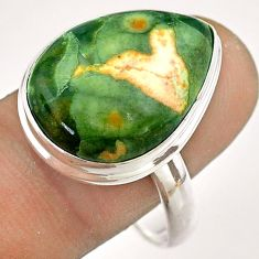 14.72cts natural green rainforest rhyolite jasper 925 silver ring size 11 t54383