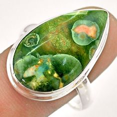 16.17cts natural green rainforest rhyolite jasper 925 silver ring size 11 t54392