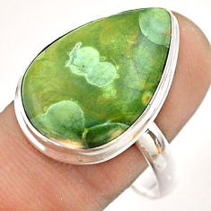 14.90cts natural green rainforest rhyolite jasper 925 silver ring size 11 t54395
