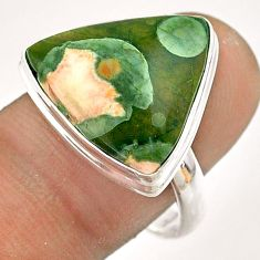 12.60cts natural green rainforest rhyolite jasper 925 silver ring size 9 t54385