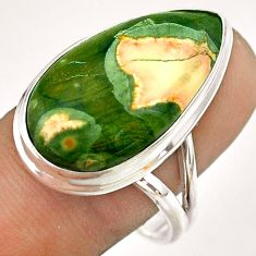 15.85cts natural green rainforest rhyolite jasper 925 silver ring size 9 t54389