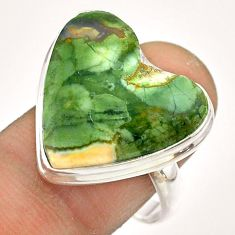 15.39cts natural green rainforest rhyolite jasper silver ring size 9.5 t54386