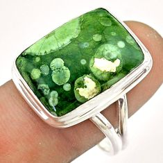 15.39cts natural green rainforest rhyolite jasper silver ring size 9.5 t54391