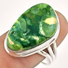 17.20cts natural green rainforest rhyolite jasper silver ring size 9.5 t54393