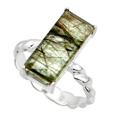 5.90cts natural green rutile 925 silver solitaire ring jewelry size 7 r49763