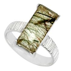 6.43cts natural green rutile 925 silver solitaire ring jewelry size 7 r49766