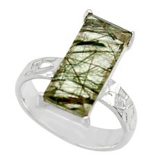 5.82cts natural green rutile 925 sterling silver solitaire ring size 6.5 r48811