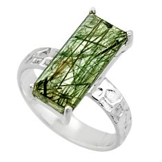 5.82cts natural green rutile 925 sterling silver solitaire ring size 6.5 r48833