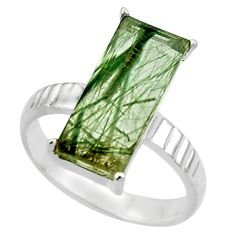 6.10cts natural green rutile 925 sterling silver solitaire ring size 7.5 r48840