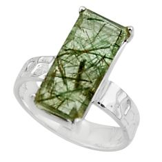 5.82cts natural green rutile 925 sterling silver solitaire ring size 6 r48835