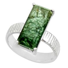 5.23cts natural green rutile 925 sterling silver solitaire ring size 7 r48806