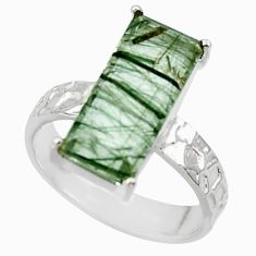 5.54cts natural green rutile 925 sterling silver solitaire ring size 7 r48807