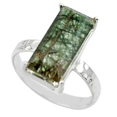 4.52cts natural green rutile 925 sterling silver solitaire ring size 7 r48810