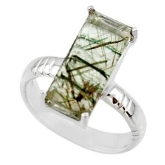 6.36cts natural green rutile 925 sterling silver solitaire ring size 7 r48818