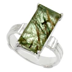 6.84cts natural green rutile 925 sterling silver solitaire ring size 8 r48802