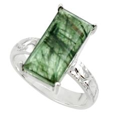 6.84cts natural green rutile 925 sterling silver solitaire ring size 8 r48803