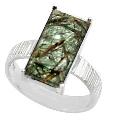 6.10cts natural green rutile 925 sterling silver solitaire ring size 8 r48809
