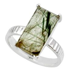 6.10cts natural green rutile 925 sterling silver solitaire ring size 8 r48813