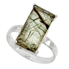 4.80cts natural green rutile 925 sterling silver solitaire ring size 8 r48814