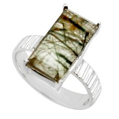 6.10cts natural green rutile 925 sterling silver solitaire ring size 8 r48815