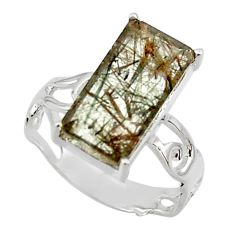5.64cts natural green rutile 925 sterling silver solitaire ring size 8 r48820