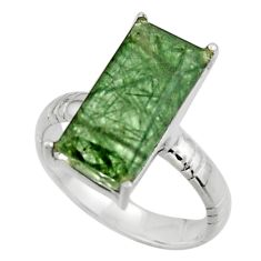 6.54cts natural green rutile 925 sterling silver solitaire ring size 8 r48834