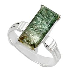 6.33cts natural green rutile 925 sterling silver solitaire ring size 9 r48817