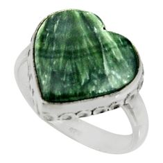 10.31cts natural green seraphinite (russian) silver solitaire ring size 8 r28296